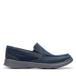 Clarks Mens Cotrell Easy Navy Combi Leather Shoes